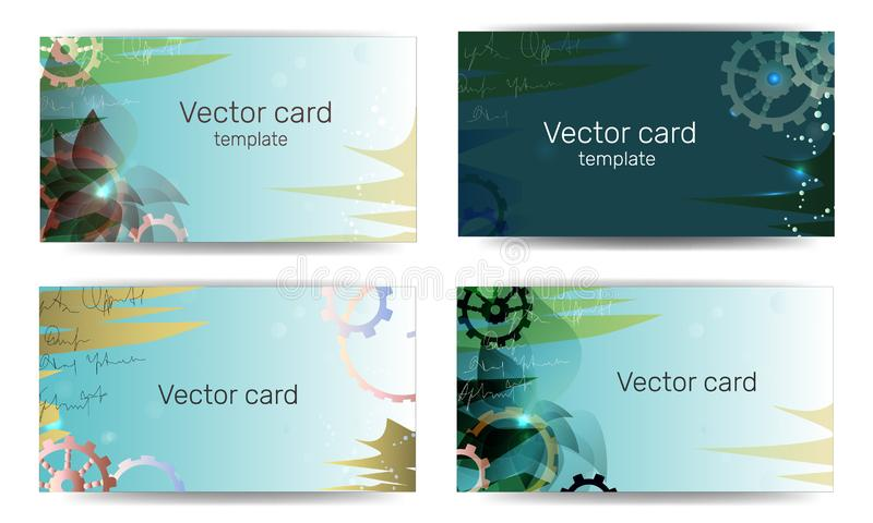 Business cards template in green colors with geometric ornament. Text frame. Abstract banner, template design. Techno style stock illustration