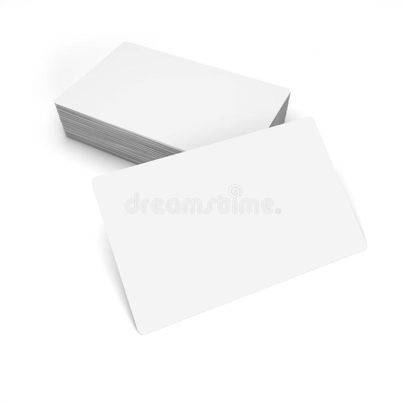 Business cards on white. 3d rendering. Business cards on white. 3d royalty free illustration