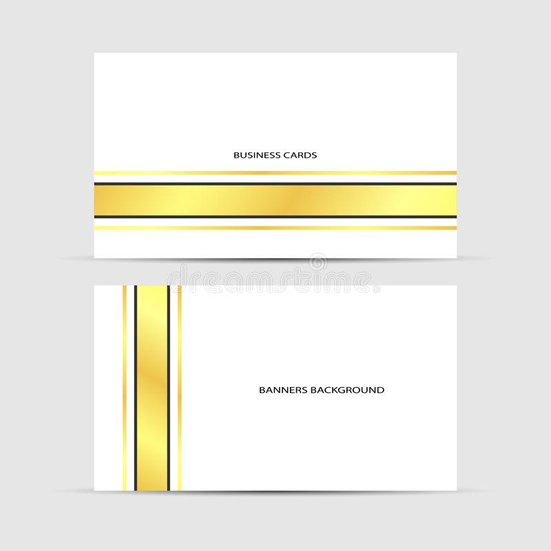 Business cards white design. Business cards gold design, white vector business background vector illustration