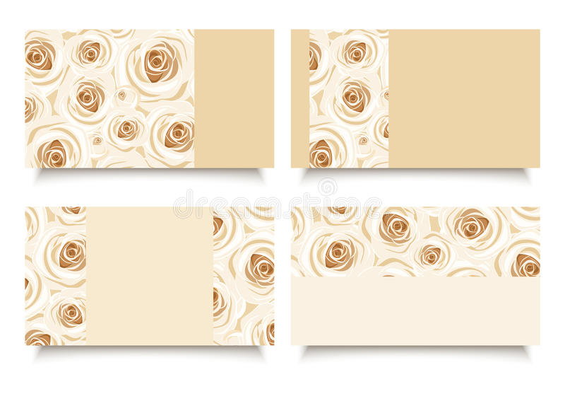Business cards with white roses. Vector eps-10. stock illustration