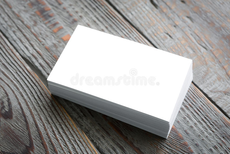 Business cards on wood table. ( with separate layer clipping path royalty free stock photos