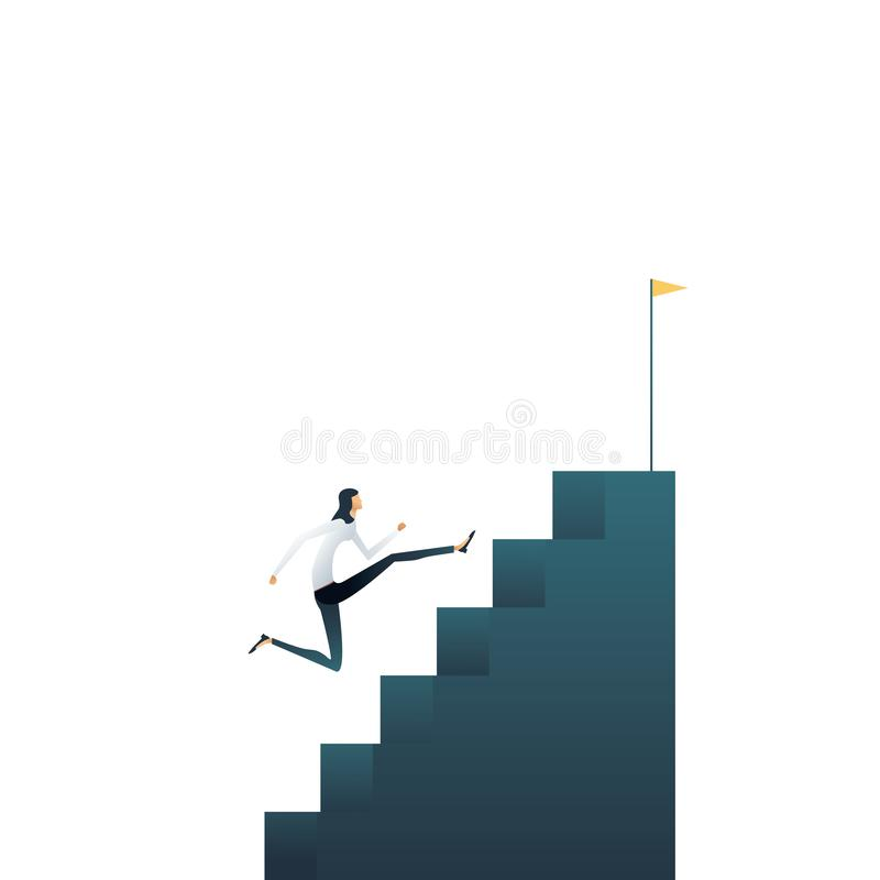 Business career ambitions and aspirations vector concept. Woman running up stairs. Symbol of professional growth stock illustration