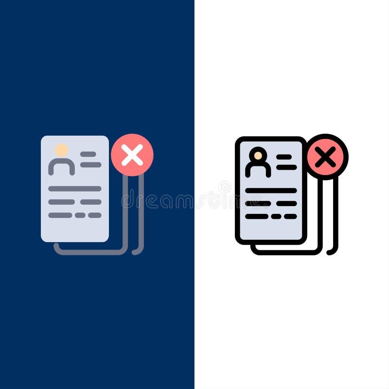 Business, Career, Cv, Job, Resume Icons Arrière-plan bleu vectoriel de l'ensemble d'icônes à plat et à ligne illustration de vecteur