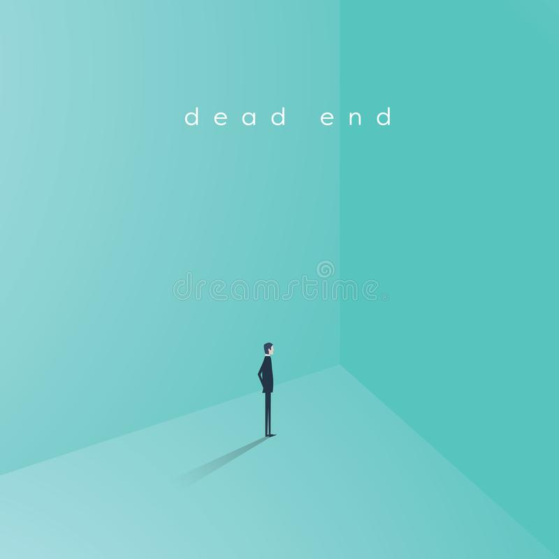 Business career dead end job vector concept. Businesswoman standing in corner as symbol of need for change, new. Opportunity, direction, challenge. Eps10 vector vector illustration