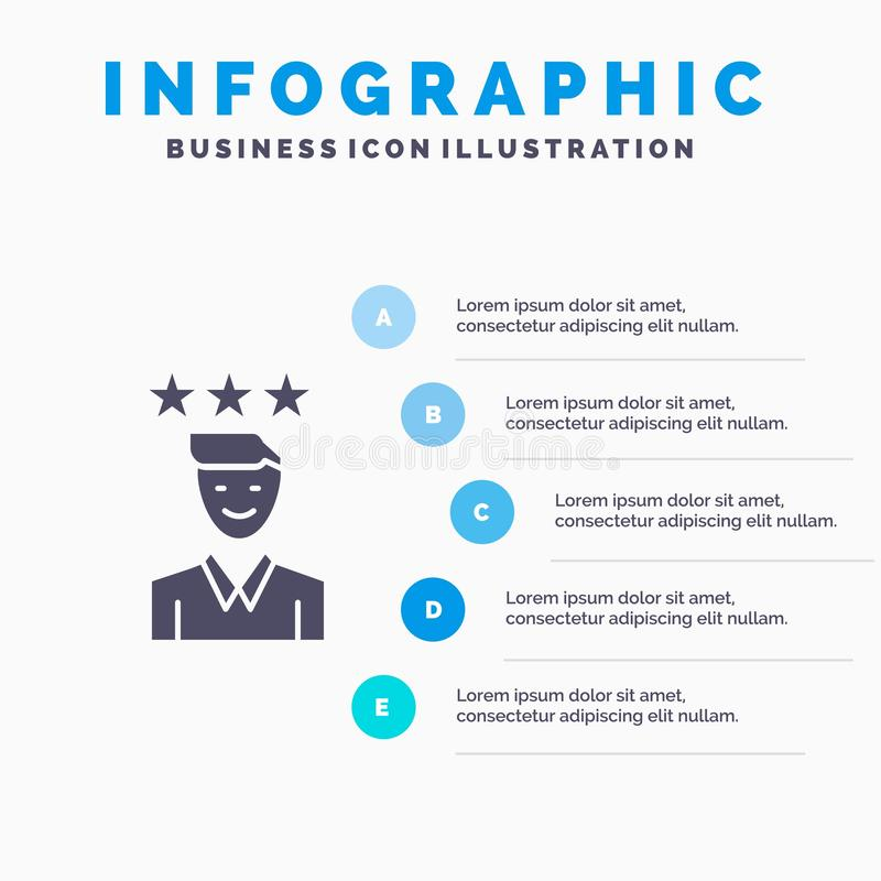Business, Career, Growth, Job, Path Solid Icon Infographics 5 Steps Presentation Background royalty free illustration