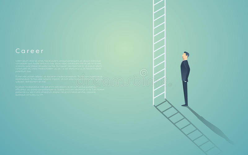 Business career ladder concept with businessman vector symbol. Corporate job promotion, progress, growth. vector illustration