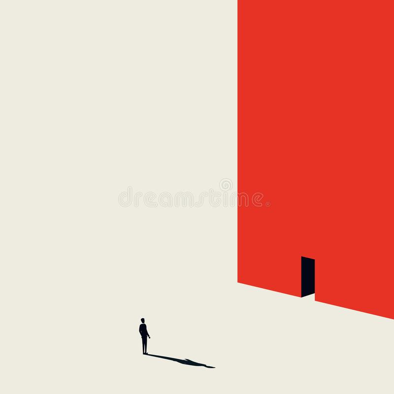 Business or career opportunity vector concept with man walking to door in wall. Minimalist art style. Symbol of. Achievement, challenge, success, chance, new stock illustration