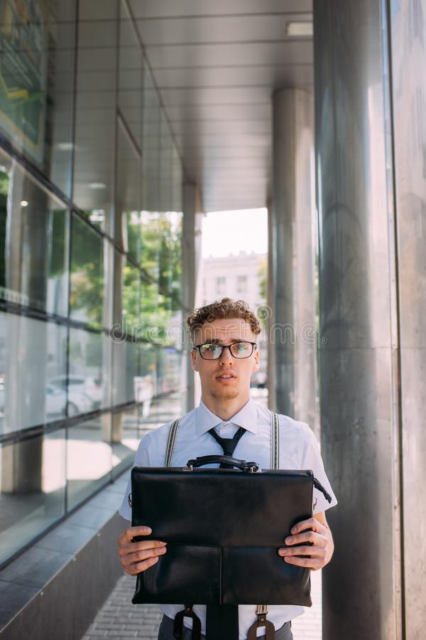 Business career start insecure newbie alarmed stock images