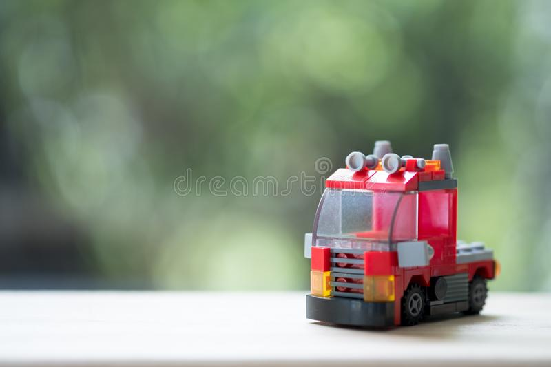 business cargo red rescue team truck 库存照片
