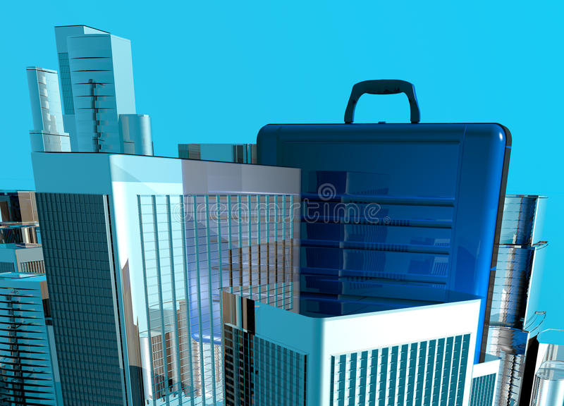 Business case and cityscape. Conceptual image of business briefcase sitting within a city landscape