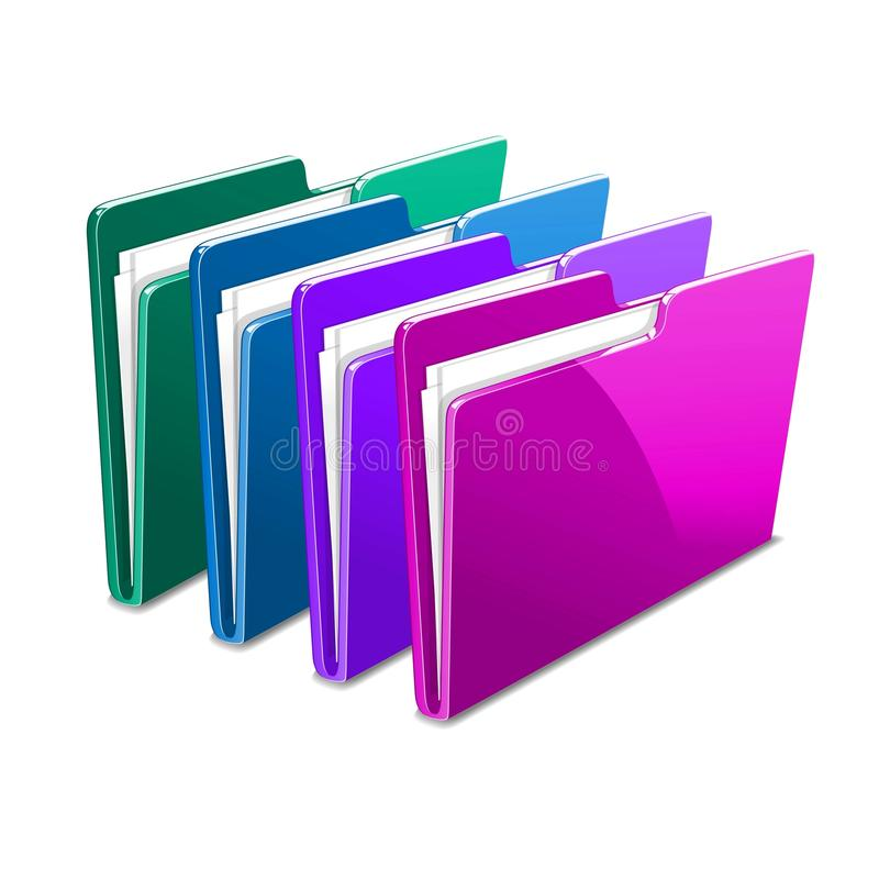 Business case color documents file folder manager. Business color documents file folder manager object office picture vector web workflow royalty free illustration