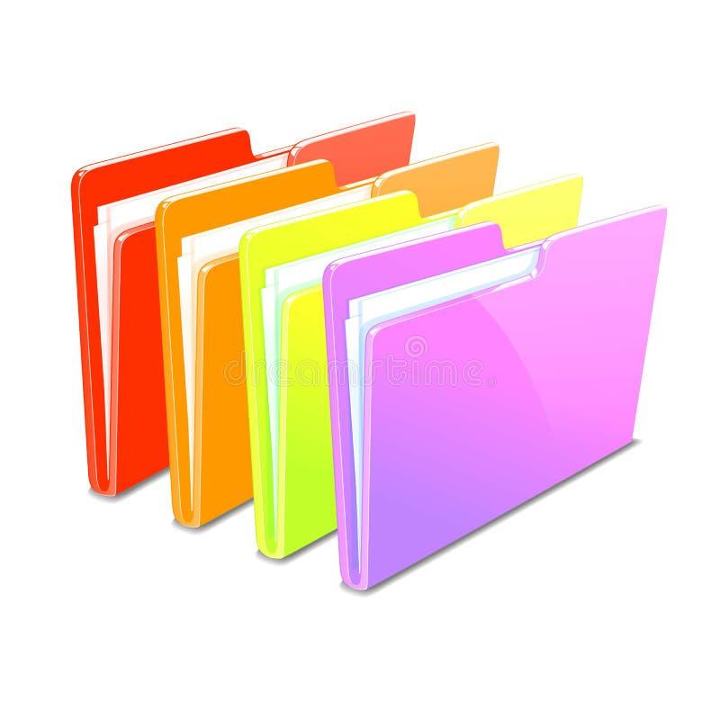Business case color documents file folder manager. Business color documents file folder manager object office picture vector web workflow vector illustration