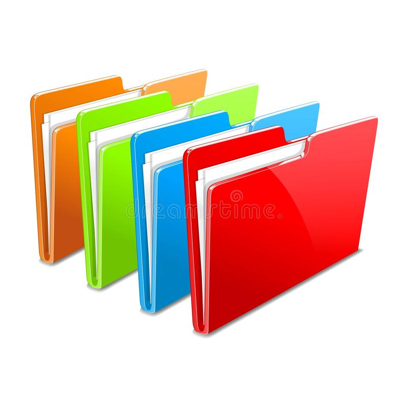 Business case color documents file folder manager. Business color documents file folder manager object office picture vector web workflow stock illustration