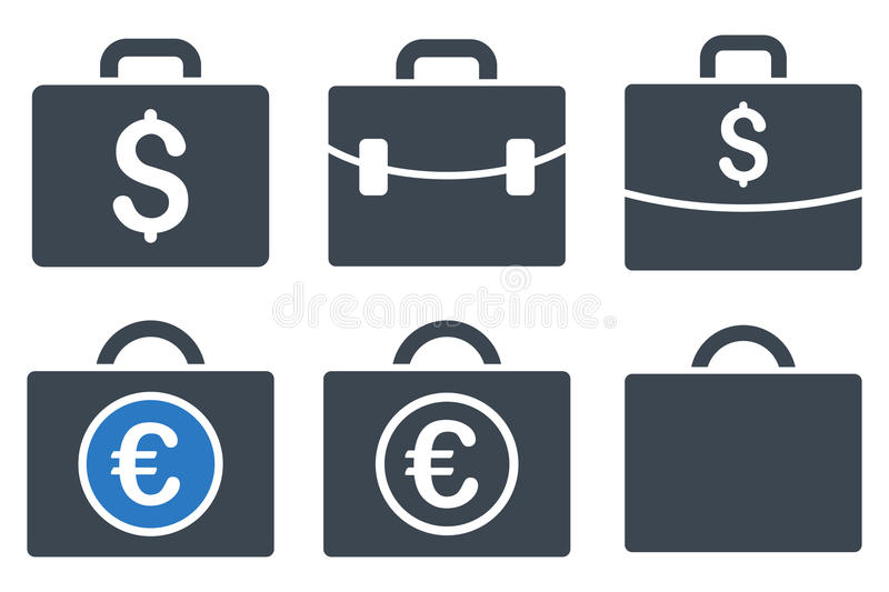 Business Case Flat Glyph Icons stock illustration