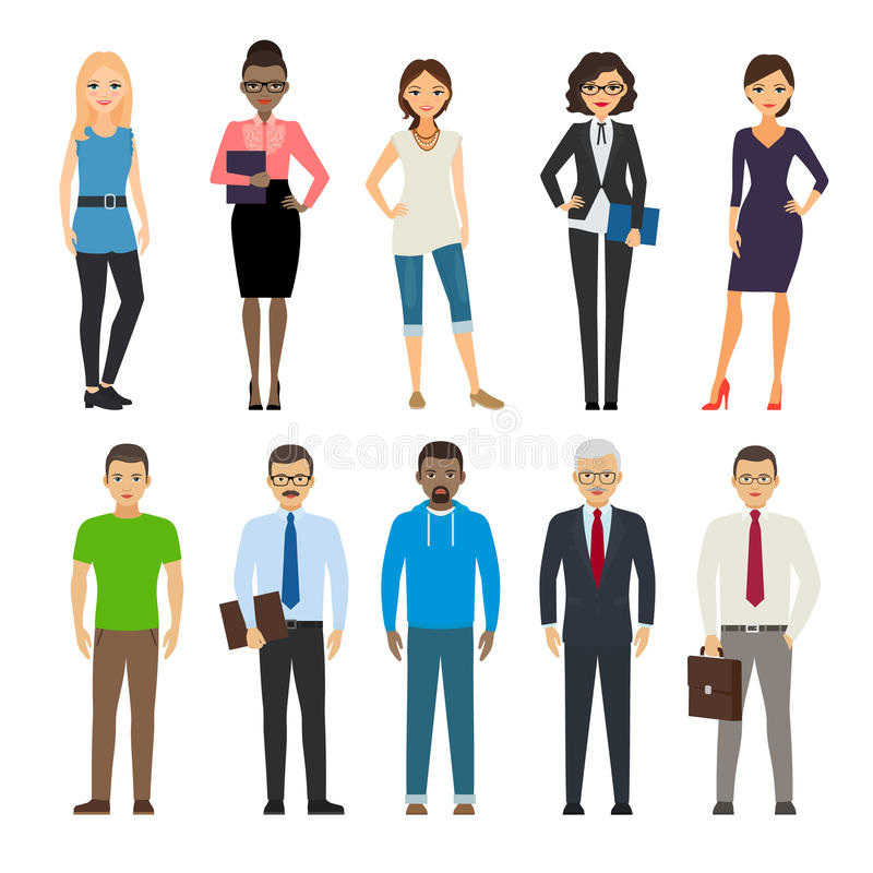 Business and casual dressed people. Business dressed and casual dressed people standing on white background. Vector illustration stock illustration
