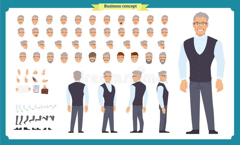Business casual fashion. Front, side, back view animated character. Manager character constructor with various views, hairstyles. Face emotions, poses and vector illustration