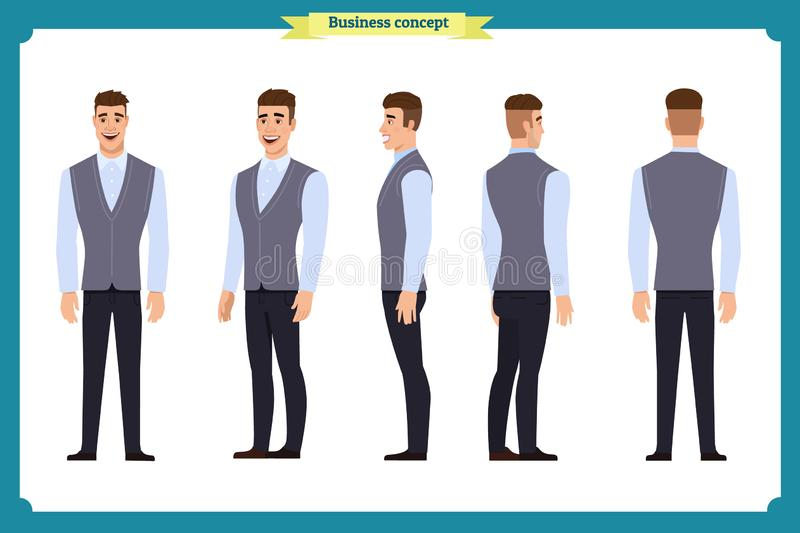 Business casual fashion.Young man for animation. Front, side, back, character. Parts of body. Cartoon style, flat vector stock illustration