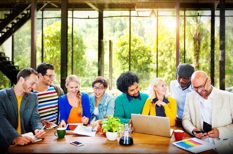 Business Casual People Office Working Discussion Team Concept royalty free stock image