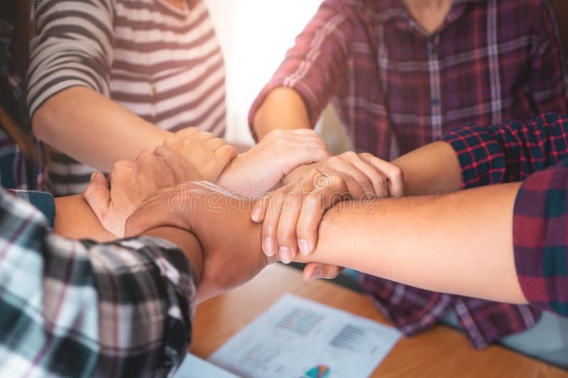 Business team hand together for team work royalty free stock image