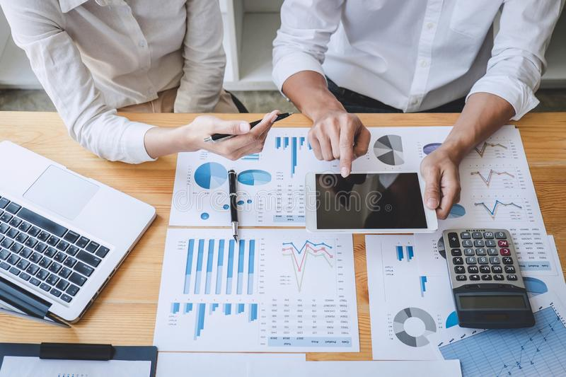 Business casual team manager having a discussion with new project success financial statistics, Partner meeting professional. Investor working start up project royalty free stock image