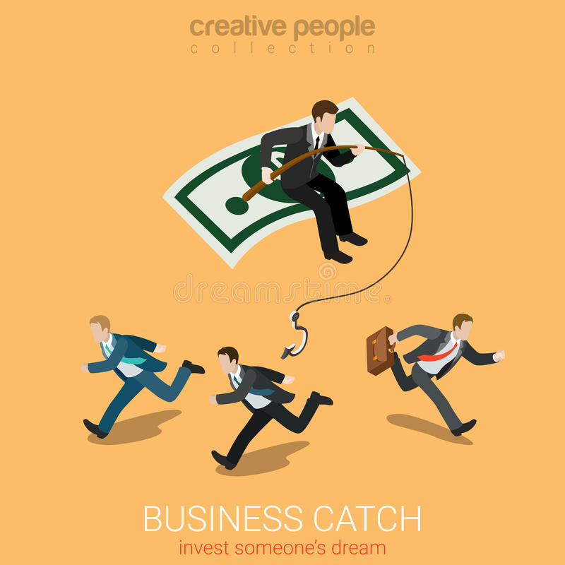 Business catch invest dream flat 3d vector isometric. Flat 3d isometry isometric business catch invest dream concept web infographics vector illustration royalty free illustration