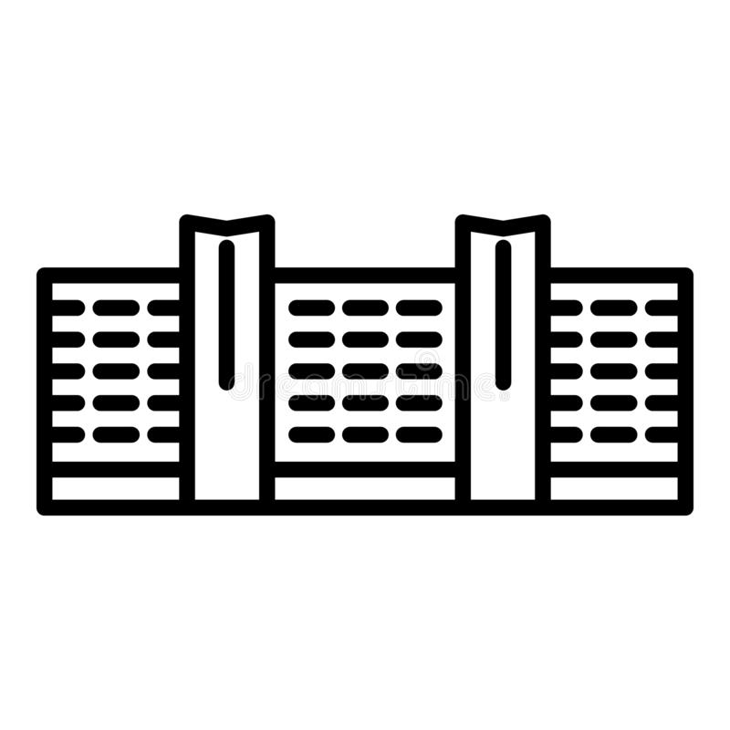 Business center building icon, outline style vector illustration
