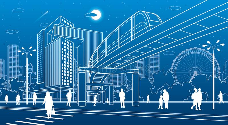 Business Center, city architecture. People walking at town street. Road crosswalk. Monorail bridge, train move. Urban life. Vector royalty free illustration