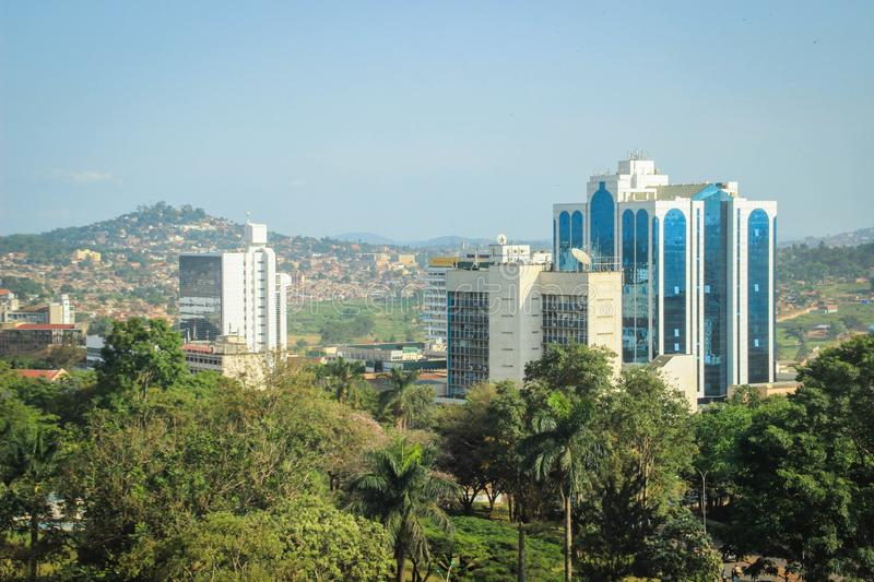 Business center of the city in the green trees. View from above royalty free stock photo