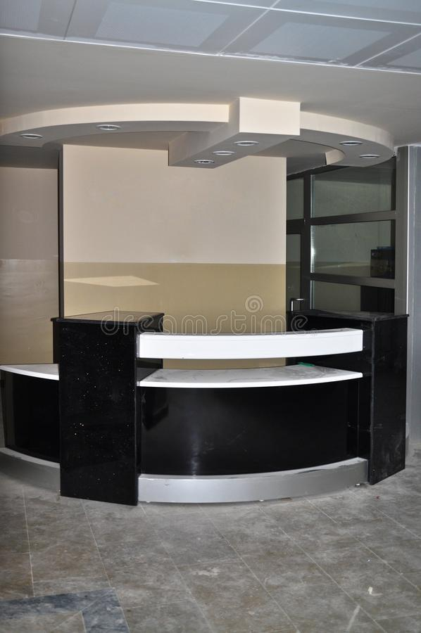 Black white reception and lobby. A business center, an empty lobby and black white reception royalty free stock image