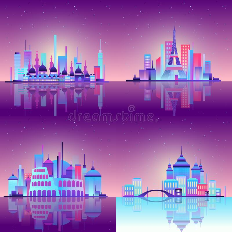 Business center, night city, towers and skyscrapers, white lines of the urban scene, vector art made in neon, neon stock illustration