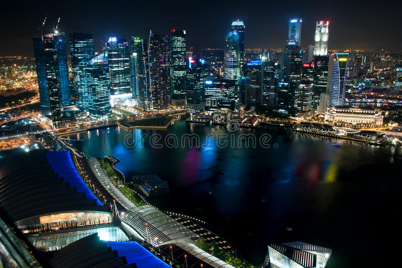 Business center of Singapore at night royalty free stock image