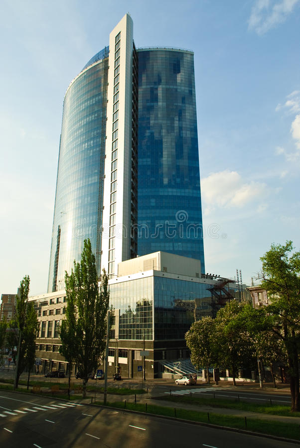 Business centre in Kiev, Ukraine. Modern construction royalty free stock photos