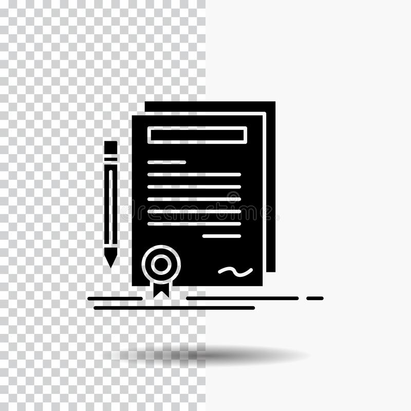 Business, certificate, contract, degree, document Glyph Icon on Transparent Background. Black Icon royalty free illustration