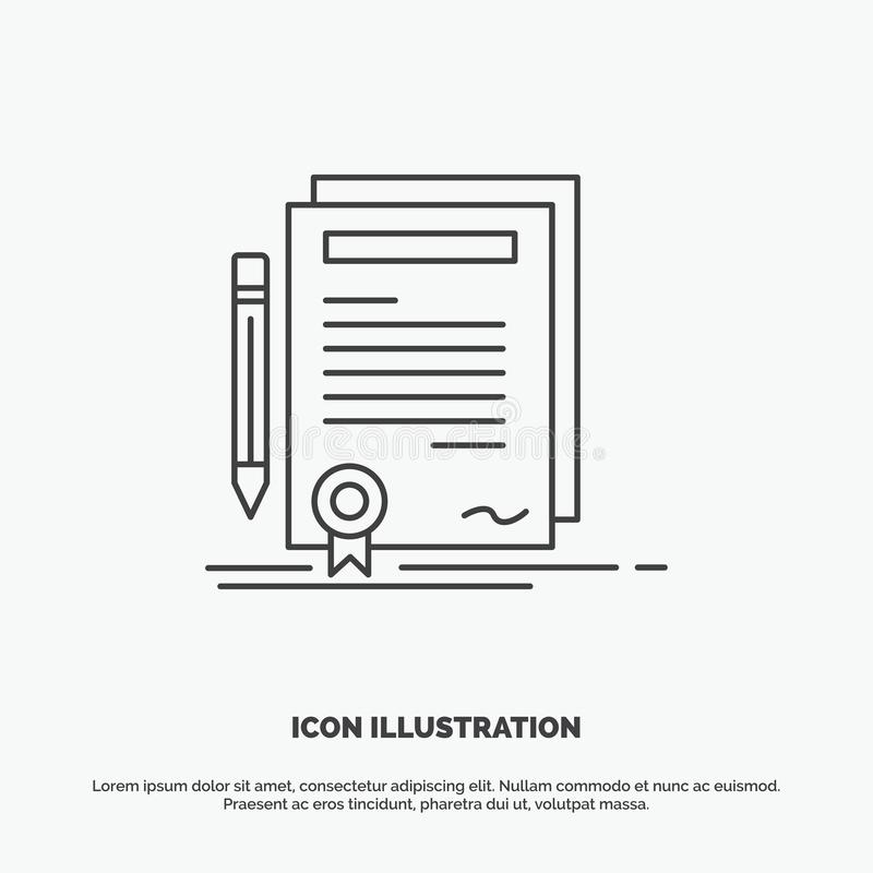 Business, certificate, contract, degree, document Icon. Line vector gray symbol for UI and UX, website or mobile application stock illustration