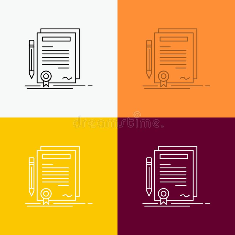 Business, certificate, contract, degree, document Icon Over Various Background. Line style design, designed for web and app. Eps. 10 vector illustration. Vector vector illustration