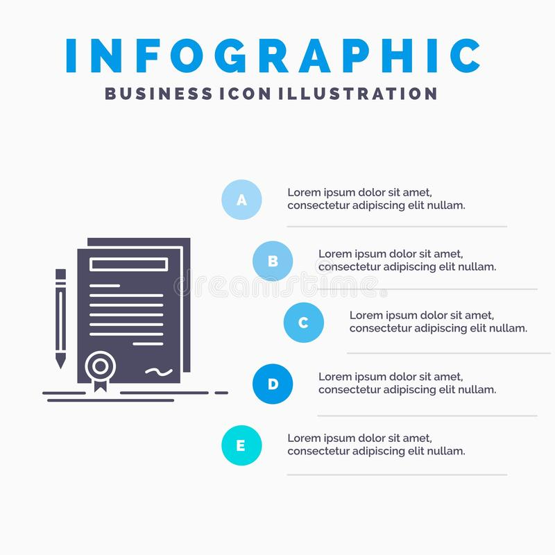 Business, certificate, contract, degree, document Infographics Template for Website and Presentation. GLyph Gray icon with Blue. Infographic style vector stock illustration