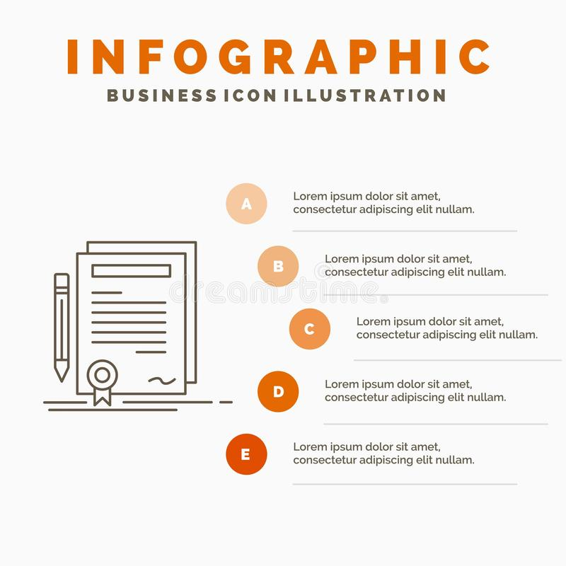 Business, certificate, contract, degree, document Infographics Template for Website and Presentation. Line Gray icon with Orange. Infographic style vector vector illustration
