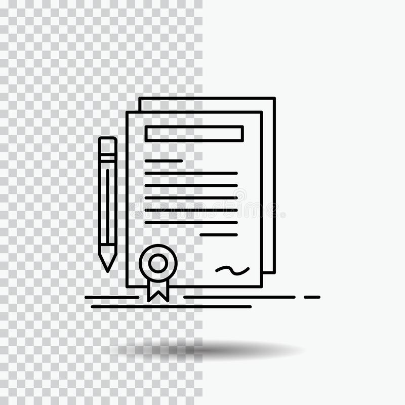 Business, certificate, contract, degree, document Line Icon on Transparent Background. Black Icon Vector Illustration. Vector EPS10 Abstract Template vector illustration