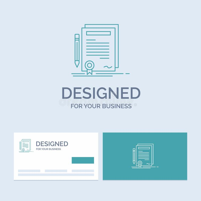 Business, certificate, contract, degree, document Business Logo Line Icon Symbol for your business. Turquoise Business Cards with. Brand logo template. Vector vector illustration