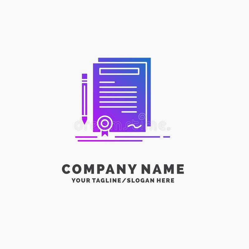 Business, certificate, contract, degree, document Purple Business Logo Template. Place for Tagline stock illustration