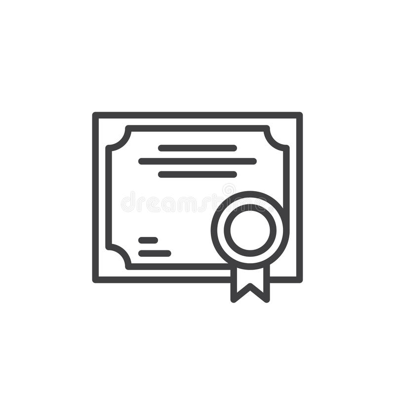 Business Certificate line icon, outline vector sign, linear style pictogram isolated on white. stock illustration