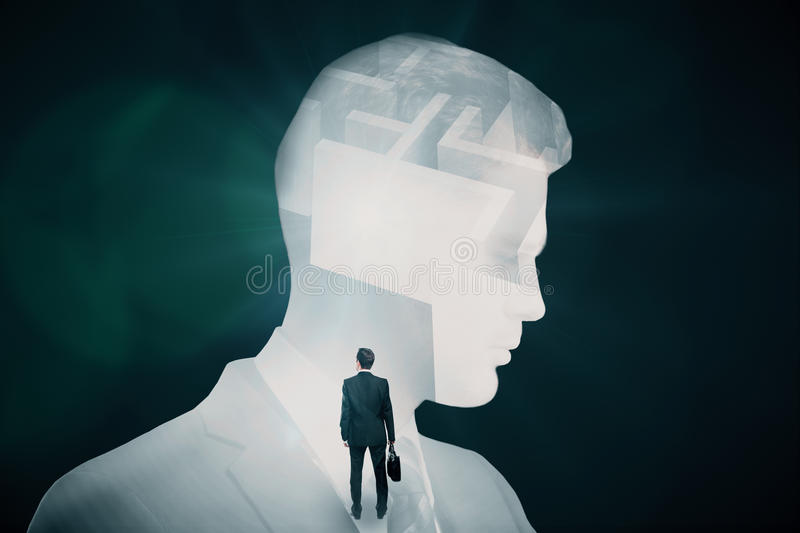 Business challenge concept. Abstract image of businessman and maze on dark background. Business challenge concept. Double exposure royalty free stock photography