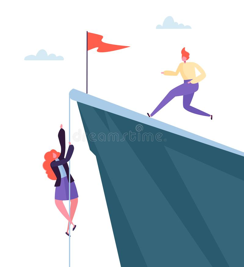 Business Challenge Concept. Businesswoman Climbing on Peak of Mountain. Businessman Character Running to the Top royalty free illustration