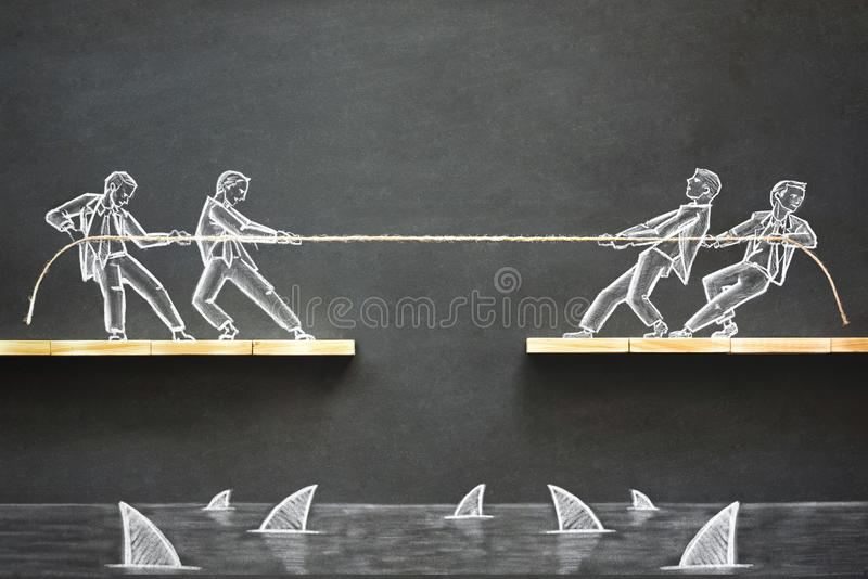 Business Challenge Concept with Hand Drawn Chalk Illustrations. On Blackboard royalty free stock photo