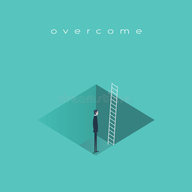 Business challenge concept, man standing in a hole with ladder. Finding solution, recover from crisis symbol. vector illustration