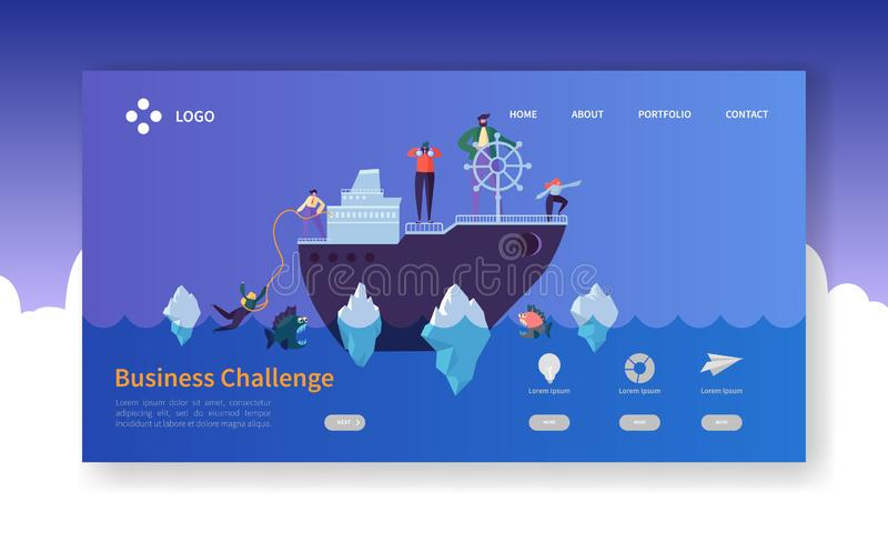 Business Challenge Landing Page. Banner with Flat People Characters on the Ship in Dangerous Water Website Template stock illustration