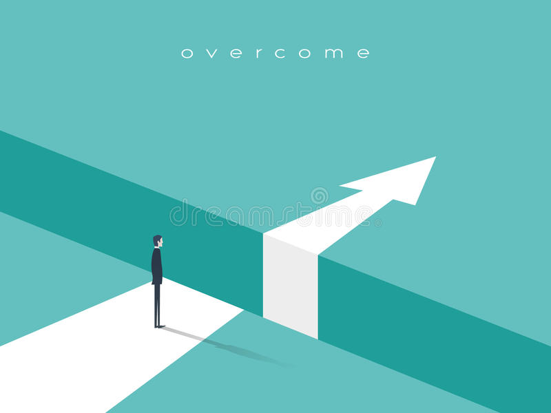 Business challenge or obstacle vector concept with businessman standing on the edge of gap, chasm with arrow going. Through. Concept of courage, bravery, risk vector illustration