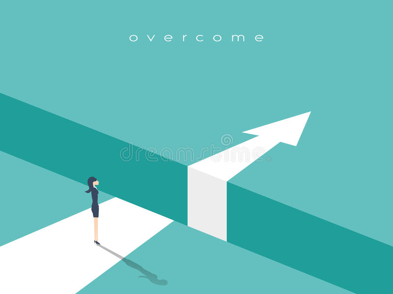 Business challenge or obstacle vector concept with businesswoman standing on the edge of gap, chasm with arrow going. Through. Concept of courage, bravery, risk royalty free illustration