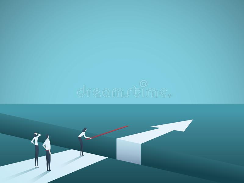 Business challenge overcome and finding solutions vector concept. Woman building bridge over gap. Symbol of creative. Teamwork, innovation, success and stock illustration