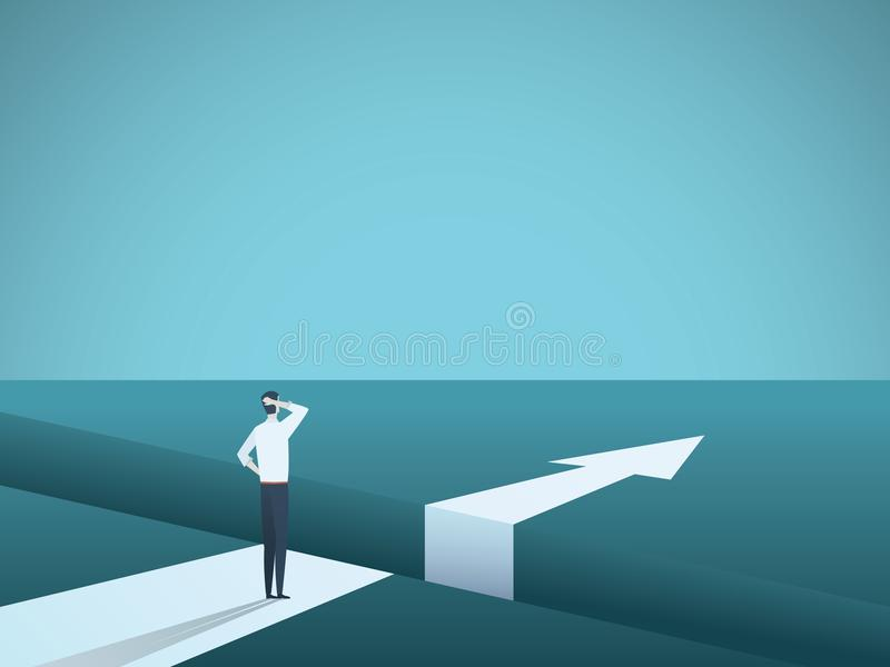 Business challenge and solution vector concept with businessman standing over big gap. Symbol of overcoming obstacles. Strategy, analysis, creativity. Eps10 stock illustration